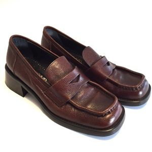 Joan and David Square Toe Chunky Heel Penny Loafer